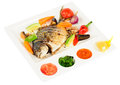 Free Fried Wish With Grilled Vegetables And Sauces Stock Photography - 36089092