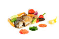 Free Fried Wish With Grilled Vegetables And Sauces Royalty Free Stock Image - 36089106