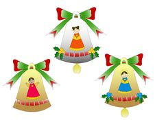 Trio Of Christmas Bells Isolated Stock Image