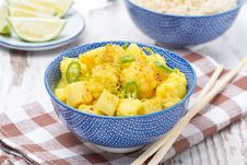 Vegetable Curry With Lime In A Bowl Stock Photos