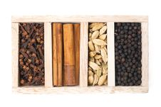 Free Wooden Box With Different Kinds Of Spices, Isolated, Top View Stock Photo - 36082960