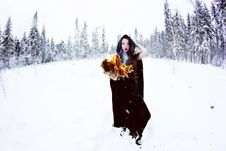 Free Witch Or Woman In Black Cloak With Fire Ball In White Snow Forest Stock Photos - 36083913