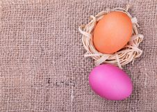 Free Easter Eggs On Burlap Background Stock Images - 36086264