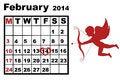 Free February Calendar 2014 Stock Photos - 36095123