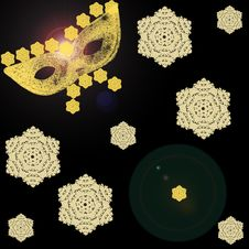 Free Drawing Of A Gold Mask On A Black Background With Snowflakes Royalty Free Stock Image - 36091626