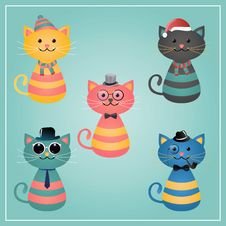 Free Winter Hipster Cats Illustration Stock Image - 36096591