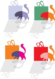 Free Cat And Shopping Bag Royalty Free Stock Photography - 36097607