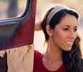 Free Woman Beside Old Rusty Truck Door Stock Image - 3610311