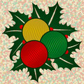 Free Three Ornaments With Holly Stock Photo - 3617990
