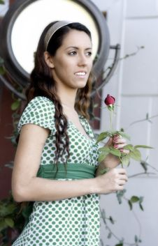 Free Attractive Young Woman With Red Rose Stock Photos - 3610323