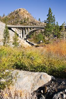 Arched Bridge In The Mountains Royalty Free Stock Image