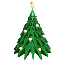 3D Christmas Tree On A White Background Stock Photo