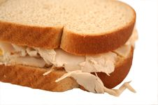 Isolated  Turkey Sandwich On Whole Grain Bread Royalty Free Stock Images