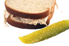Free Isolated  Turkey Sandwich With Pickle Stock Photo - 3614720