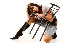 Girl With Chair Royalty Free Stock Photography