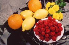 Free Raspberry, Orange, Lemon, Royalty Free Stock Photo - 3615965