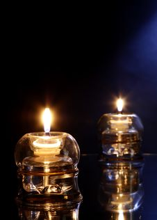 Free Candles On Glass Royalty Free Stock Photos - 3617728