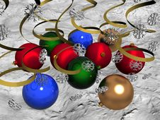 Free Multi-coloured Christmas Balls On Snow Stock Images - 3618254