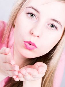 Free Girl Blowing A Kiss Royalty Free Stock Images - 3619579