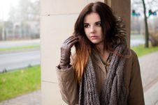Free Beautiful Brunette Portrait In Coat Stock Photo - 36100750