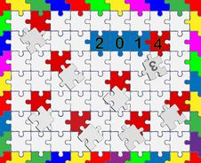 Free 6 Jigsaw Drop-down Puzzle 2013- 2014 - Your Text Royalty Free Stock Photography - 36105517