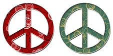 Free Peace Sign Red Black Green Golden Floral Royalty Free Stock Image - 36107676