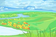 Free Vector European Flat Landscape With River Stock Photography - 36111422