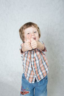 The Boy Shows Okay And Laughs Stock Photos