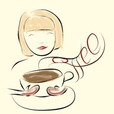 Free Girl Enjoy Smell Of Coffee Stock Photography - 36113512