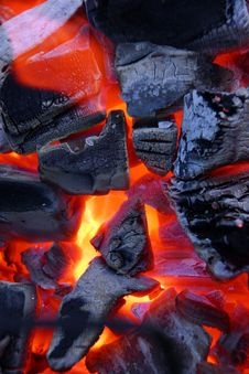 Burning Bright Charcoal Stock Photos