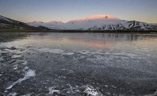 Ice Land At The Sunset Royalty Free Stock Photo