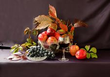 Free Grapes, Apples, Nuts And A Glass Of Red Wine Stock Photography - 36121242