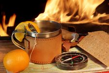 Taste Of Adventure And Romance At A Fire XXXL Stock Photography