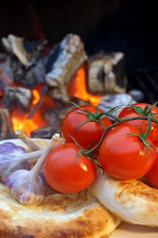 Free Composition With Bread, Tomatoes And Garlic Royalty Free Stock Images - 36129739