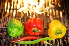 Free Colorful Bell And Chile Peppers On The BBQ Cast Iron Grill Stock Photography - 36130062