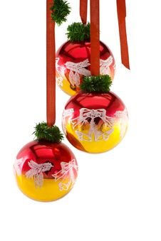 Free Christmas Balls Hanging On Ribbon Stock Photos - 36133833