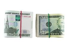 Free Two Packs Of 1000 - Ruble And 50 - Dollar Stock Image - 36134151