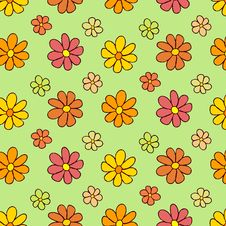 Free Colorful Flower Pattern On Green Background Royalty Free Stock Image - 36135346