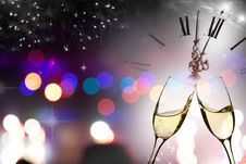 Free Glasses With Champagne Against Fireworks And Clock Stock Photography - 36147372