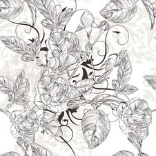 Free Vector Seamless Wallpaper Pattern With Roses Flowers Stock Image - 36148511