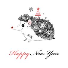 Free Merry Christmas Hedgehog Stock Image - 36151261
