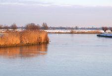 Free Frozen Eem River In Dutch Eempolder, Baarn, Netherlands Royalty Free Stock Photography - 36155497