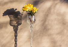 Yellow Rose In Wineglass Vase Royalty Free Stock Photos