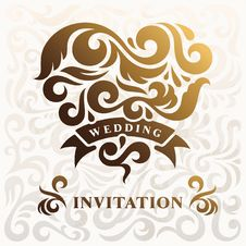 Free Wedding Invitation With Heart Stock Photography - 36163522