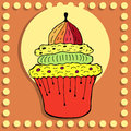 Free Simple Figure Cupcake In Vintage Style Royalty Free Stock Images - 36178889