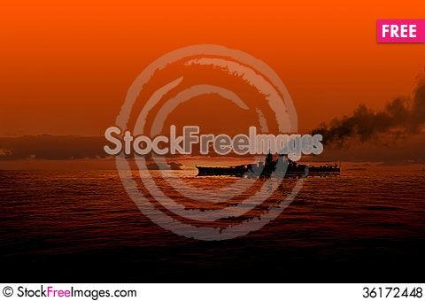 Free Battleship At Sea Royalty Free Stock Photos - 36172448