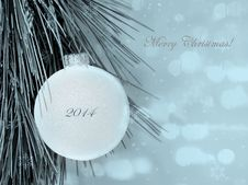 Free Merry Christmas Postcard With Blurred Background Stock Photos - 36170073
