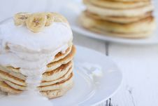 Pancakes With Sour Cream Royalty Free Stock Photo
