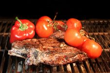 Tenderloin Steak On BBQ Grill With Vegetables Royalty Free Stock Images