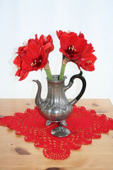 Free Pewter Can With Red Amaryllis Stock Image - 36173371